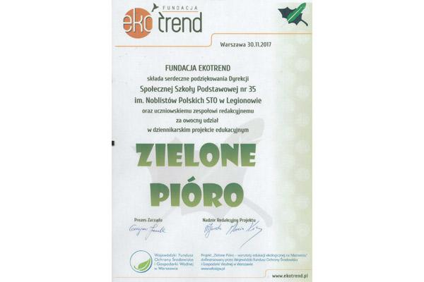 Dziennikarski projekt edukacyjny Zielone Pióro